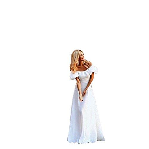 BOMOVO Damen Sommer Kurzarm Trägerlos Lang Chiffon mit Spitze Ballkleid Brautkleider Abendkleid Maxi Kleid Weiß
