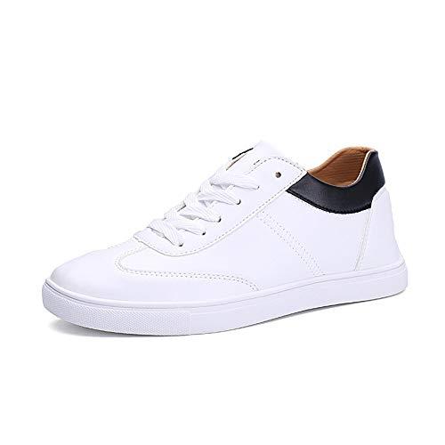 BBTK Kleine weiße Schuhe Aufzug Sneaker für männer Casual Skating Board Schuhe schnüren mikrofaser Leder höhe zunehmende Athletic Sports (Color : Schwarz, Größe : 43 EU) -