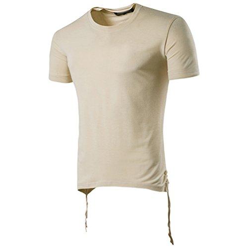 CHENGYANG Herren Basic T-shirt Stylisch Design Rundhals Kurzarm Ebene Shirt Bluse Khaki