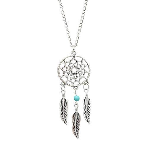 Tinaa - Collar con colgante de atrapasueños, cadena de plata ajustable, joyas para mujer