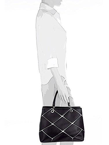 Aimée Damen Tasche mit geschmackvollem Patchwork Schwarz/Weiß