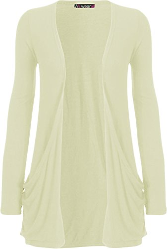 WearAll Neu Damen Langarm Freund Boyfriend Style Strickjacke Cardigan Top - Creme - 36-38