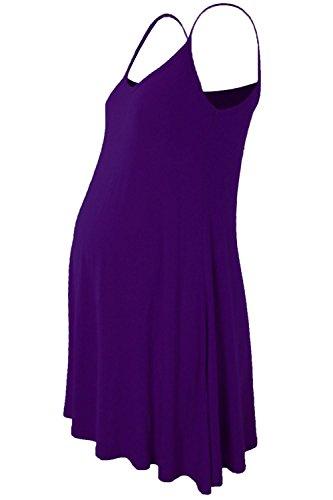 Janisramone femmes Dames Nouveau Sans manches Plaine Floaty Évasée Strappy Maternité camisole Balançoire robe Longue Haut Violet