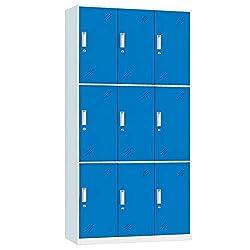 Racking Solutions 9 Door Metal Storage Lockers, Blue & Grey Steel Lockable Unit, Staff Gym School Changing 1850mm H x 900mm W x 400mm D