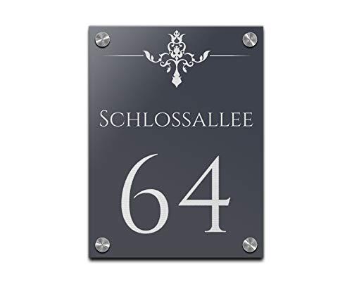 Edles Türschild | Hausnummer 15x20 cm mit Gravur mit über 80 Motiven Familien-Haus Familienschild Türschilder für die Haustür mit Namen -