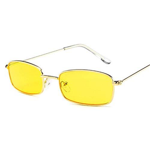 CCGSDJ Metall Sonnenbrille Männer Frauen Retro Kleine Quadratische Sonnenbrille Weibliche Gelb Rosa Objektiv Brille Kleinen Rahmen Shades Brille