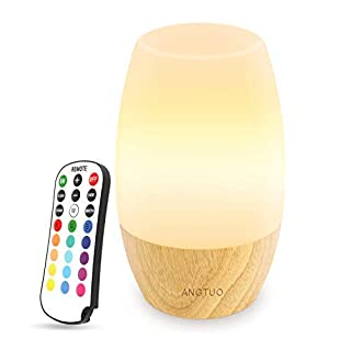ANGTUO LED Night Light, Silicone Baby Table Bedside Night Light with Remote for Bedrooms, Cute Infant Toddler Kids Cool Color Changing Brightness Adjustment Nursery Breastfeed Lamp, US Plug.