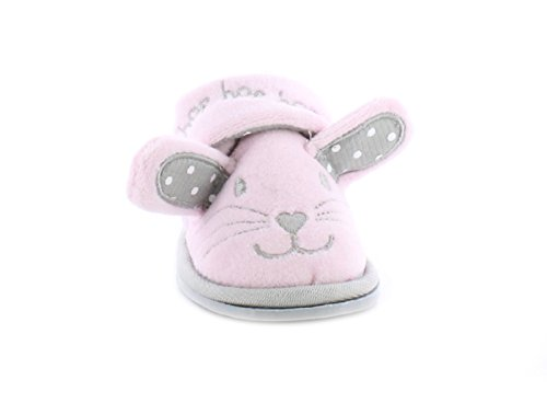 b482e8942e02 Princess Stardust New Girls Childrens Pink Bunny Slippers Touch Fastening -  Pink - UK Sizes 4-10