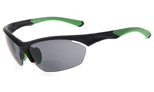 Eyekepper TR90 Sport Bifokale Sonnenbrille Baseball Laufen Angeln Fahren Golf Softball Wandern Halbrandlose Lesebrille (Schwarzer Rahmen grüner Tempel, 1.00)