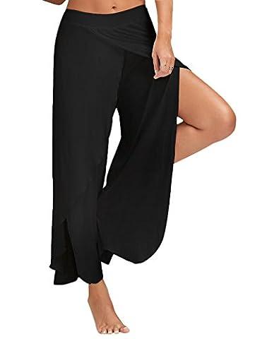 Minetom Casual Pantalons Jambe Large Pour Femme Epurée Fendue Grande Taille Jupe-Culotte Bouffant Elastique Extensible Palazzos Yoga Noir EU