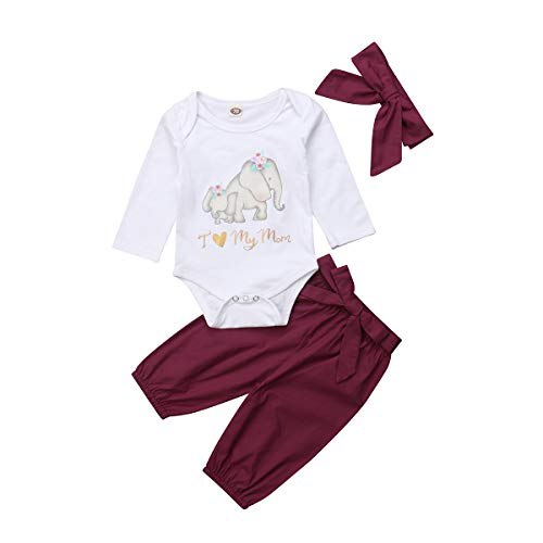Infant Baby Mädchen Kleidung Set Kurzarm Rundhals Rose Print Strampler Rüschen Plissee Solid Color Rock Outfit Set 2 Stücke für 0-18 Monate (12-18 Monate, Liebe Mama drucken) Mädchen Rüschen Set
