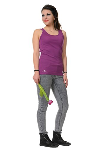 Girocollo Allentato Casuale Canotte Senza Maniche Serbatoio Migliori Camicie stampa pace di fata - Donna, da 3Elfen Porpora