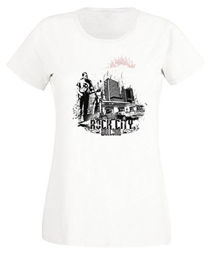 Welcome Rock City Donna T-shirt Bianco Cotone Girocollo Maniche Corte White Women's T-shirt