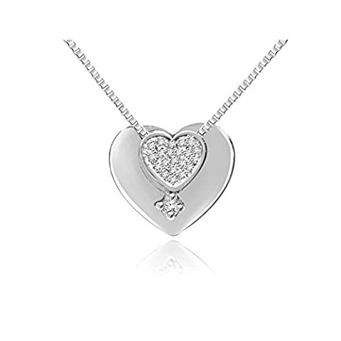 0.09ct H/SI1 Diamond Pendant for Women with Round Brilliant Diamonds in 18ct White Gold with Necklace