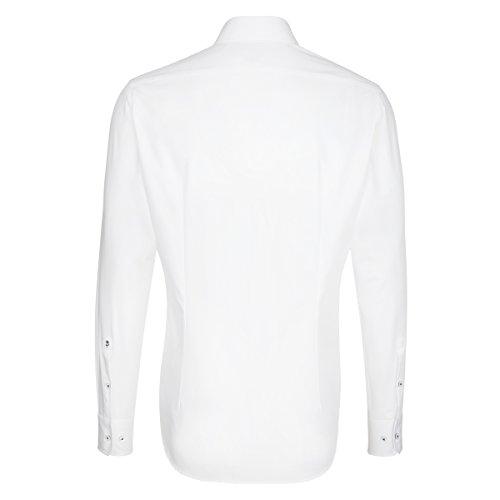 SEIDENSTICKER Herren Hemd Tailored 1/1-Arm Bügelleicht Uni / Uniähnlich City-Hemd Kent-Kragen Kombimanschette weitenverstellbar Weiß