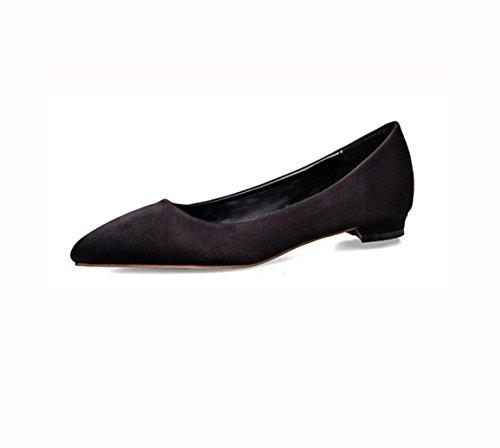 WZG Die neue Damenmode war dünn dünne flache mit flachem Mund spitzer Schuhe mit Satin Beruf Wohnungen Black