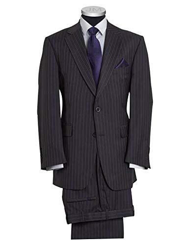 P&G Herren Kleid Streifen Slim Fit Anzug mit Zwei Knöpfen Revers Zweiteiler -