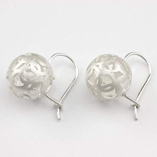 Ohrringe Silber Brisuren Kugel Braut-Schmuck Braut-Ohrringe Echt-Schmuck