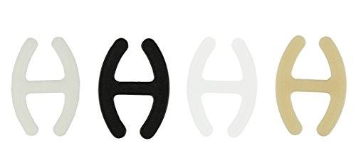 com-four 4X Bra H Clip - pour Cacher et raccourcir Les Bretelles en Noir, Blanc, Beige et Transparent (04 pièces - Noir/Beige/Transparent/Blanc)