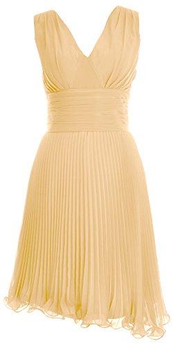 MACloth Women V Neck Chiffon Cocktail Dress Short Bridesmaid Dress Formal Gown Champagne