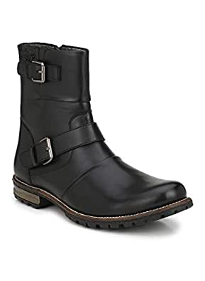 Delize Black Artificial Leather Side Zipper High Ankle Trekking Hiking Men Boots