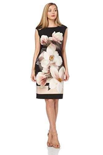 Roman Originals Damen Scuba Kleid, Florales Motiv, Schwarz - Schwarz - Größe 40