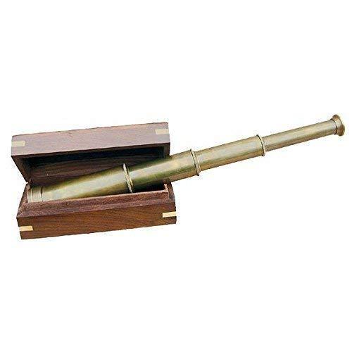 navire- Téléscope antique quatre rapide, Télescope, Laiton antique, Boîte en bois
