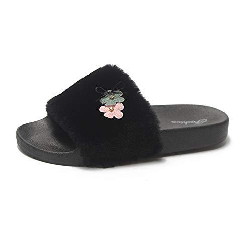 ❤️Chaussons Hiver Plush Slippers, Amlaiworld Femme Pantoufle Chaussures Hiver Faux Fourrure Flat Slipper Flip Flop Sandal Claquette