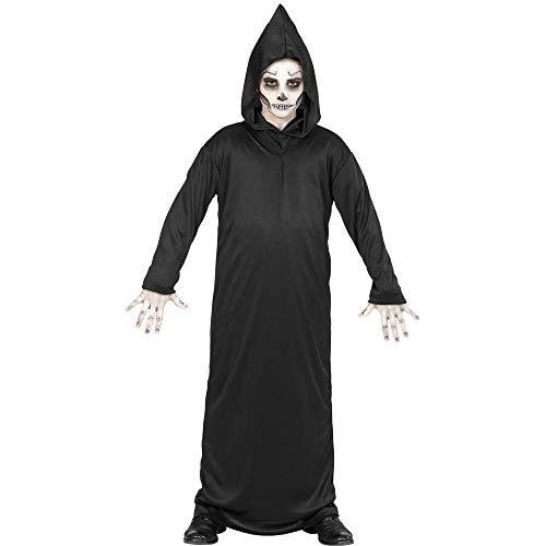 WIDMANN 00016 - Kinderkostüm Sensenmann, Robe mit Kapuze, Größe 128, schwarz