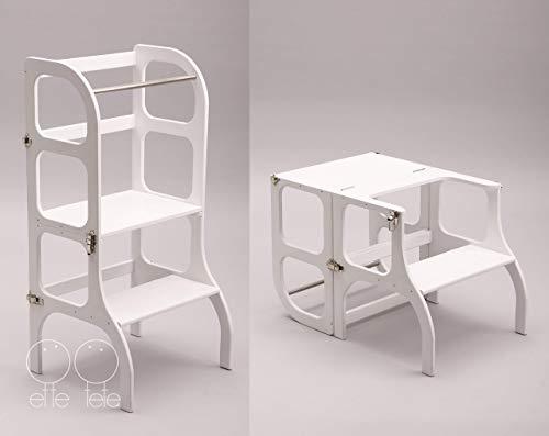 Lernturm/Tisch / Stuhl alles in einem Hocker/Montessori Learning tower, kitchen helper step stool - WHITE color/SILVER clasps (Küche, Stühle Für Schwere Menschen)