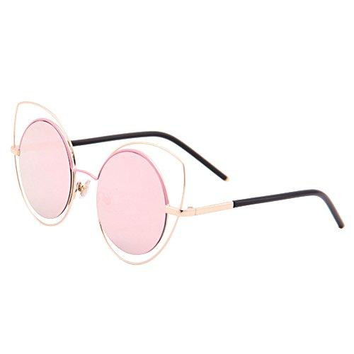 Eizur occhio di gatto occhiali da sole rotondi vintage occhiali da sole estate art donna occhiali specchio lente piatta con fall per donna 6colori opzionale, rosa + gold