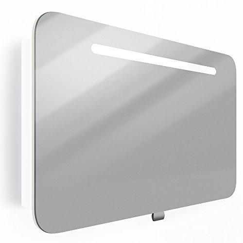 *Spiegelschrank LED Weiß Hochglanz Badschrank Badspiegel Spiegel (80cm)*