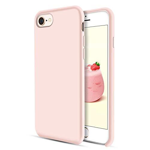 DUEDUE iPhone 8 Hülle, iPhone 7 Hülle Slim dünne Handyhülle iPhone 8 Slim case Liquid Silikon Gel Matte Hülle Kratzfest Silikon Case für iPhone 8 / iPhone 7 (4.7 Zoll) Rosa Pink -
