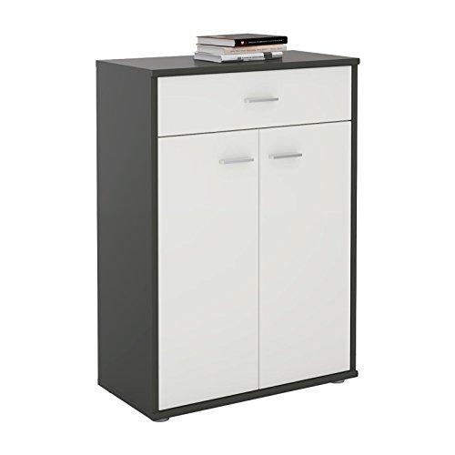 CARO-Möbel Kommode Sideboard Schrank Tommy in Grau/Weiß, Anrichte Highboard mit Schublade und 2 Türen