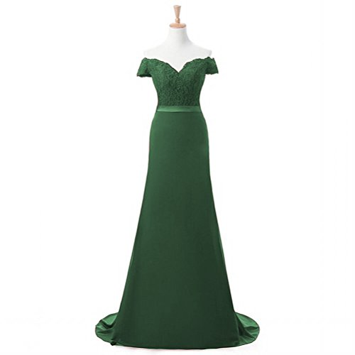 Fanciest Women's Cap Sleeve Lace Bridesmaid Dresses Mermaid Prom Gowns Green