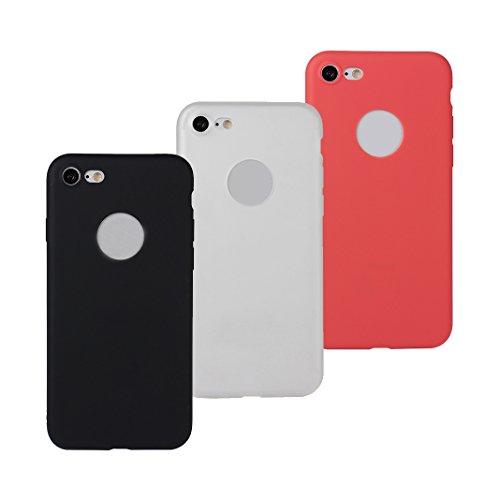 3 Pack Handyhülle für iPhone 7, iPhone 7 Slim Back Cover, Rosa Schleife Ultra Dünn TPU Handyhüllen Lightweight Weiche Soft Silikon Cases Cover Bumper Schale für iPhone 7 Schwarz & Weiß & Rot