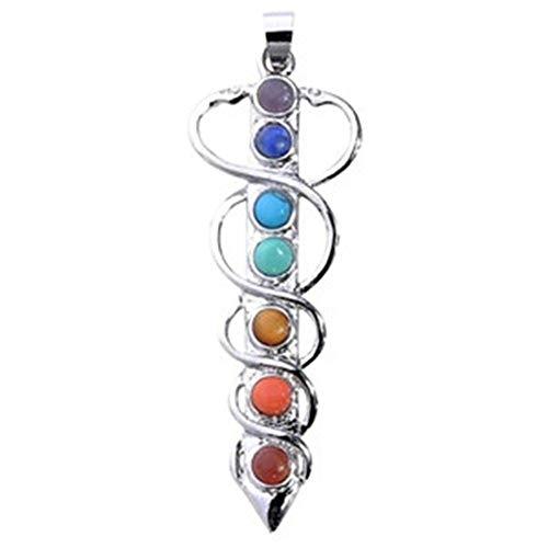 Schmuck Zubehör Heilung Cyrstals 7 Perlen Chakra Charm Stein Schwert Anhänger Für Halskette Machen 20mm * 58mm Schlüsselanhänger -