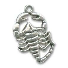 Breloque Scorpion 25 mm argenté vieilli x1