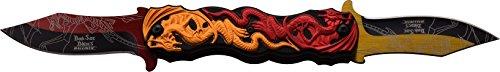 DARK SIDE BLADES Taschenmesser DS-A045 Serie, Messer dreifarbig DRACHEN BLACK/ ROT/ ORANGE Griff, sehr scharf, Outdoormesser 8,26cm ROSTFREI DOPPEL Klinge für Jagen/ Militär/ Camping, federunterstützt kompakt 558gr Klappmesser Red Dragon Taschenmesser