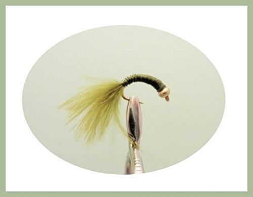 Confezione da 6, in rame, colore: verde oliva, con segnale acustico, motivo: Marabou Tail-Insetti esca per pesca alla trota, Misura: 12