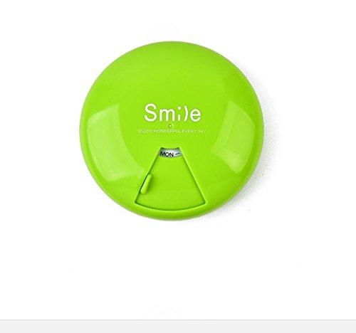 Tag Wöchentliche Pille Veranstalter (YOIL 7Tage Tablet Pille Box Weekly Medizin Container Fall Veranstalter (grün))