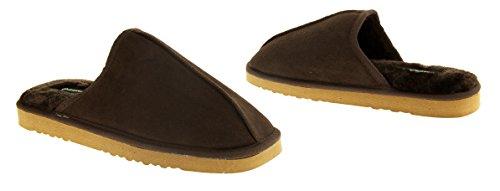 Dunlop Herren Brandon DMH7942 Wildleder Kunstpelzfutter Maultier Pantoffeln Schokoladenbraun