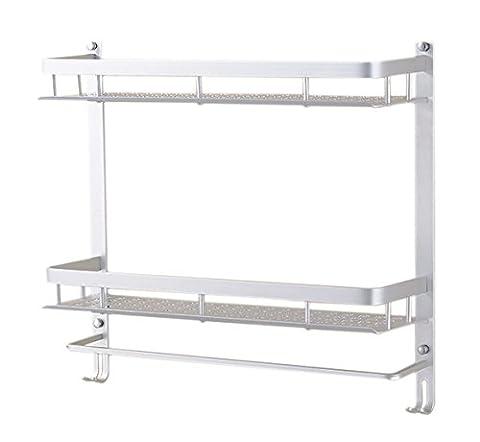 Aluminum 2 Tier Wall Mounting Rack Bathroom Rack with Hooks