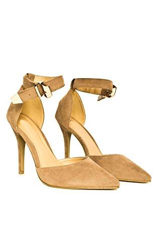 IKRUSH Womens New Suede Effect Stilettos Moka