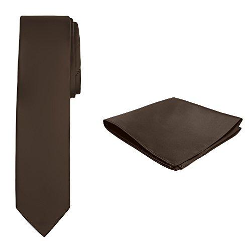 Jacob Alexander Solid Color Men's Slim Tie and Hanky Set - Cocoa Brown
