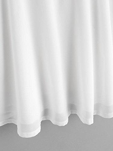Amuster Femmes débardeurs sans manches brodé en mousseline de soie Cami Top Blouse Blanc