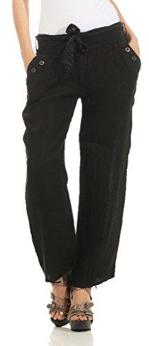 269 Damen Leinenhose lockere Freizeithose Lange 100% Leinen Hose Uni Elegante Stoffhose Haremshose Schwarz M