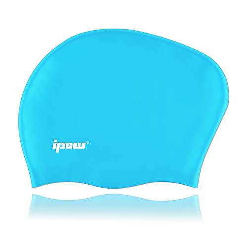 ipow Hochwertige Silikon Badekappe Bademütze Badehaube für Lange Haare gesund und warm Swim Cap (Himmelblau)