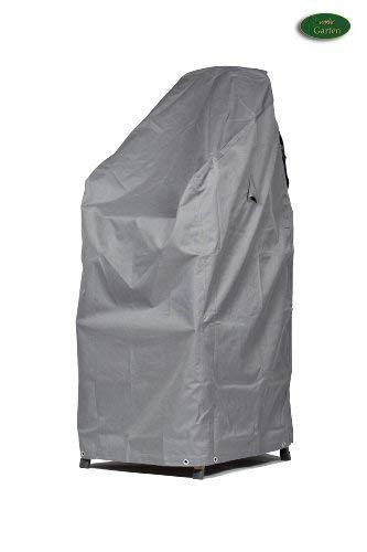 Mehr Garten Premium Schutzhülle für Stapelstühle/Gartenstühle aus Polyester Oxford 600D - lichtgrau Größe XL