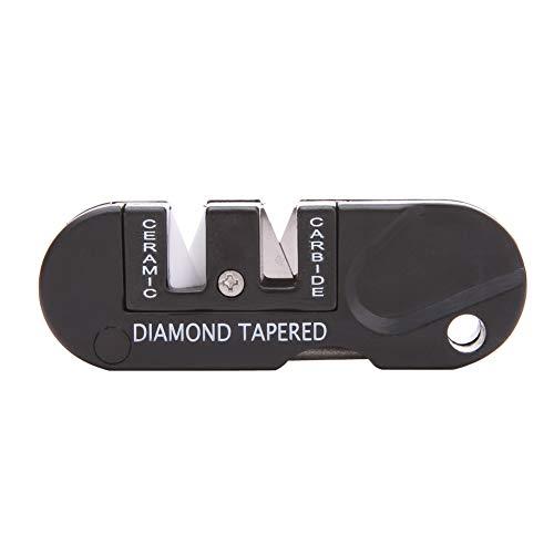 Tragbare Messerschärfer Mini-Tasche Keychain Sharpener Faltbare Messer Schärfwerkzeug für Überlebens-Jagd Fischen Wandern Camping Schwarz 1PC